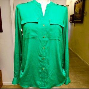 Calvin Klein kelly green blouse size medium